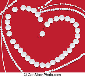 collier, perle, forme, coeur