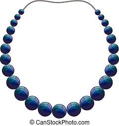 collier, perle, icône, style, dessin animé