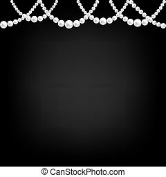 collier, perle, noir