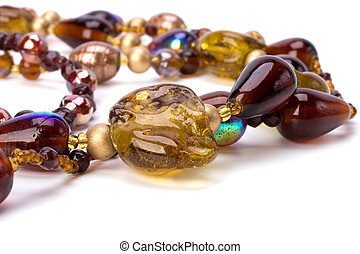 collier, perles, coloré