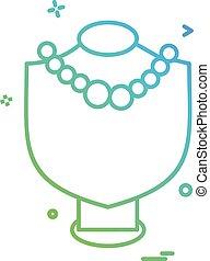 collier, vecteur, conception, icône