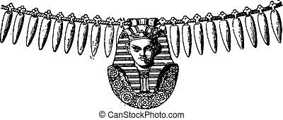 collier, vendange, cadre, sphinx, engraving.