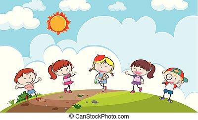 collina, gioco, giovani bambini