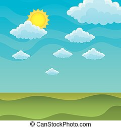 colline, cielo, soleggiato, verde, coperto, erba
