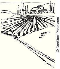 colline, fattoria, house., campo, drawing., paesaggio, sketch.