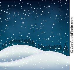 colline, nuit, hiver, neigeux