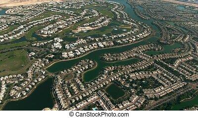 collines, arabe, localisé, uni, vue, communauté, aérien, luxe, emirats, dubai
