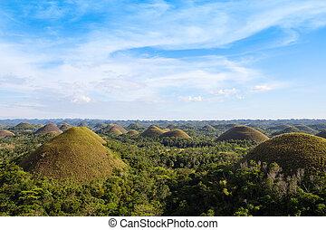 collines, bohol, philippines, île, chocolat