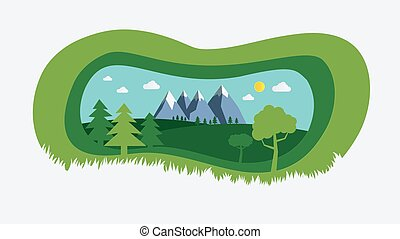 collines, ciel, été, arrière-plan., beau, style, scene., arbres, vecteur, champ vert, nature, montagnes, papier, conception, coupure, illustration., naturel, paysage