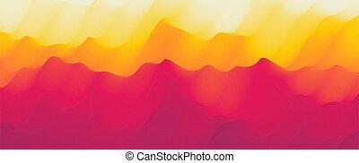 collines, dawn., arrière-plan., coucher soleil, dunes,...