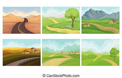 collines, ensemble, maisons, campagne, vecteur, paysages