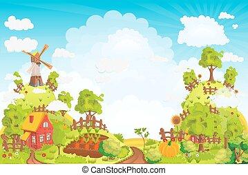 collines, jardins, maisons, élevé, vecteur, illustration, champ, paysage rural, moulin