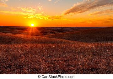 collines, kansas, silex, orange, coucher soleil, lueur