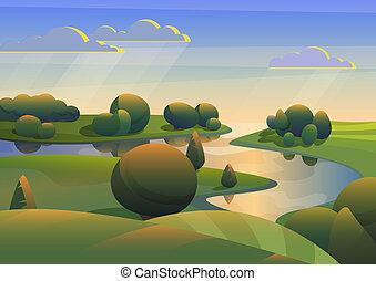 collines, vecteur, rivière verte, prés, paysage, illustration.