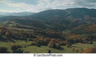 collines, vert, supérieur, bâtiments, village, rare, ...