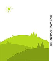 collines vertes, paysage, pour, ton, conception