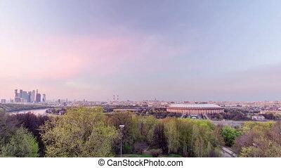 collines, ville, moineau, moscou, timelapse, panoramique, nuit, russie, jour, vue