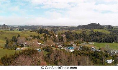 collines, zélande, waitomo, vue, nouveau, aérien, panoramique