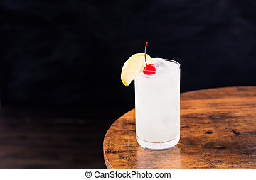collins, erfrischen, cocktail, tom