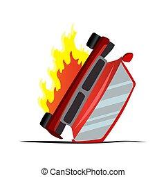 collision., auto., accidente, vector, seguro, choque, daño, ...