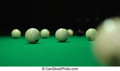 Collision balls on a billiard table