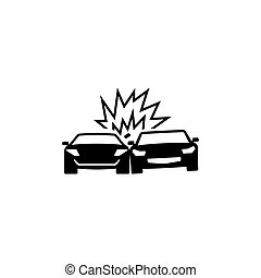 Collision Cars Flat Vector Icon