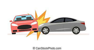 Collision of cars. Car crash involving two cars. A drunk or inconsiderate driver caused a serious traffic accident. Flat illustration isolated on white background.