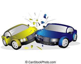 Two injured after a car accident on a white background
