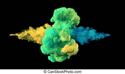 Collision of colored smoke. l. The collapse of smoke in slow motion on a black background.