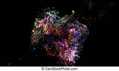 collision of two streams of particles in 4k. ink effect...