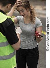 collision, participant, femme, moteur