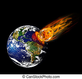 meteorite - Collision planet Earth with enormous fiery ...