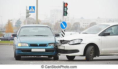 collision, urbain, rue, fracas, automobile