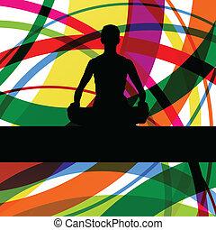collocazione, colorito, ginnastico, loto, illustrazione, vettore, fondo, idoneità, esercizi, posizione, linea, donne
