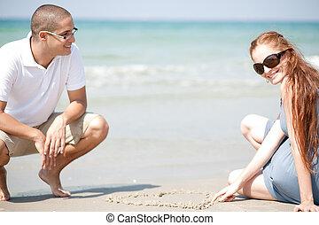 collocazione, spiaggia, coppia, giovane, amare