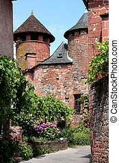"""Collanges la Rouge, situated in the Correze, Limousin, France is officially listed as one of the 152 """"Most Beautiful Villages of France"""" / """"plus beaux villages de France"""". It is characterised by its red stone architecture in the Romanesque style."""