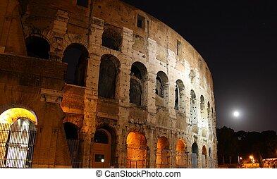 Colloseum in Rome Italy at night