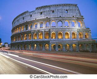 collosseum, rome, italie, nuit