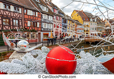 Colmar. Old half-timbered houses. - Medieval multicolored...