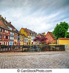 Colmar, Petit Venice, bridge, bike and traditional houses....