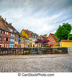 Colmar, Petit Venice, bridge, bike and traditional houses....