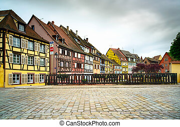 Colmar, Petit Venice, bridge on water canal and traditional...
