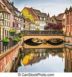 Colmar, Petit Venice, bridge, water canal and traditional...
