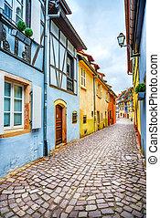 Colmar, Petit Venice, narrow street and traditional half...