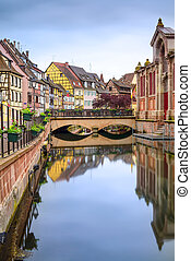 Colmar, Petit Venice, water canal and traditional houses....