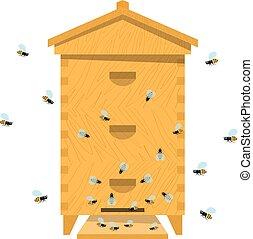 colmena, colmena, de madera, Ilustración, abeja, tradicional, Plano de fondo, blanco, caricatura