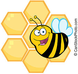 colmenas, naranja, frente, abeja
