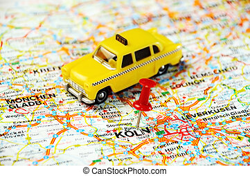 Coln,Germany map taxi - Red push pin pointing at...