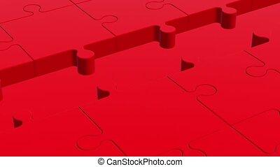 colo, puzzle, blanc rouge, morceaux