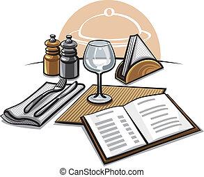 colocação tabela, restaurante